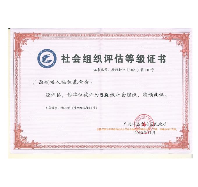 广西残疾人福利基金会社会评估等级证书(加字)